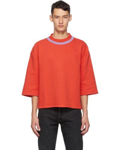 Czerwony t-shirt w paski bawełniany Martin Asbjorn