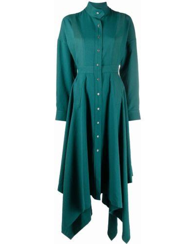 Зеленое платье на пуговицах Kenzo