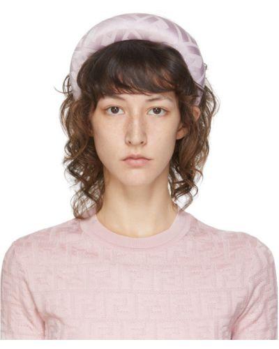 Jedwab czarny opaska na głowę z paskami Fendi
