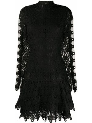 Черное платье мини с вышивкой с вырезом круглое Jonathan Simkhai