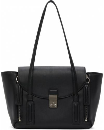 Skórzany czarny torba na ramię z łatami prążkowany 3.1 Phillip Lim