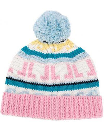 Кашемировая розовая шапка бини крупной вязки Lanvin Enfant