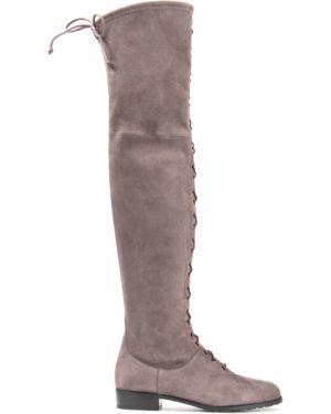 Замшевые серые сапоги на шнуровке с декоративной отделкой Stuart Weitzman