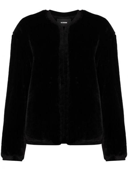 Черная длинная куртка круглая с круглым вырезом с карманами We11done