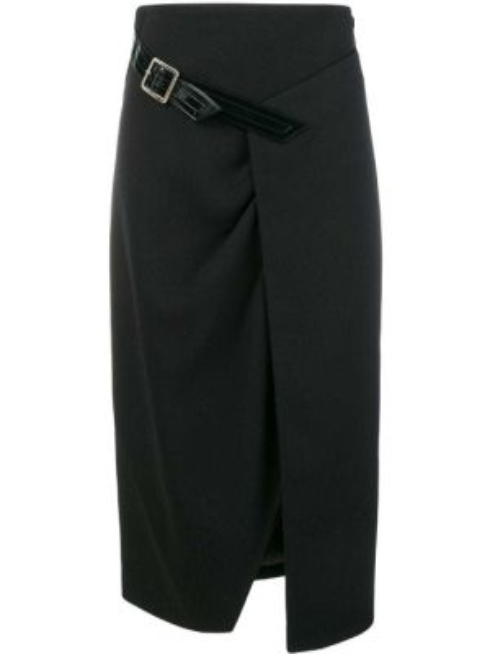 Черная юбка миди с запахом с разрезом в рубчик Givenchy