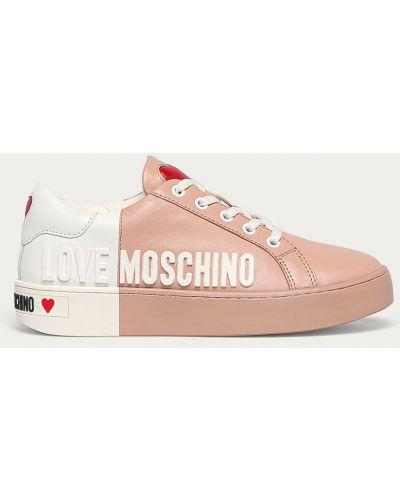 Różowe sneakersy skorzane sznurowane Love Moschino