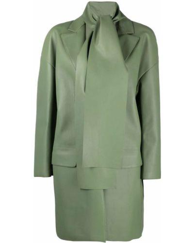 Однобортное зеленое кожаное длинное пальто Salvatore Ferragamo