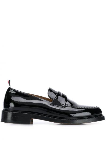 Лаковые кожаные черные лоферы Thom Browne