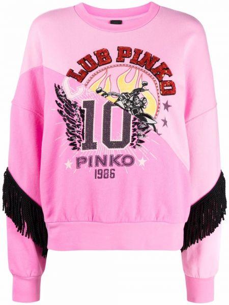 Różowa bluza długa z długimi rękawami z frędzlami Pinko