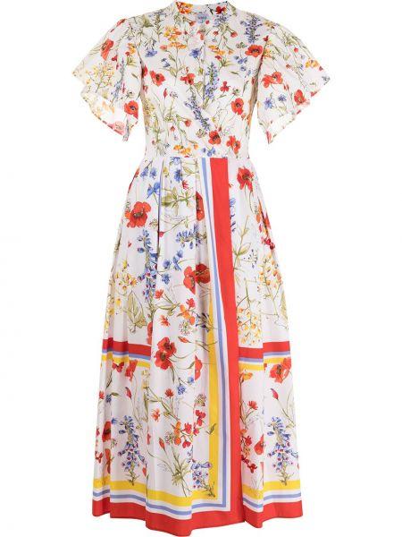 Прямое белое платье макси в цветочный принт Sara Roka