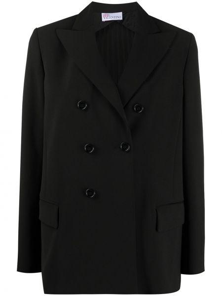 С рукавами черный удлиненный пиджак двубортный Redvalentino
