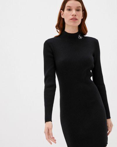 Вязаное черное джинсовое платье Calvin Klein Jeans