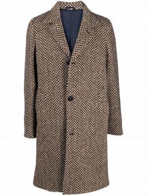 Brązowy długi płaszcz wełniany Mp Massimo Piombo