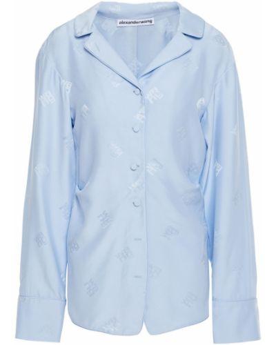 Niebieska koszula asymetryczna z jedwabiu Alexander Wang