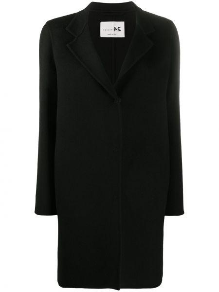 Однобортное черное длинное пальто на кнопках Manzoni 24