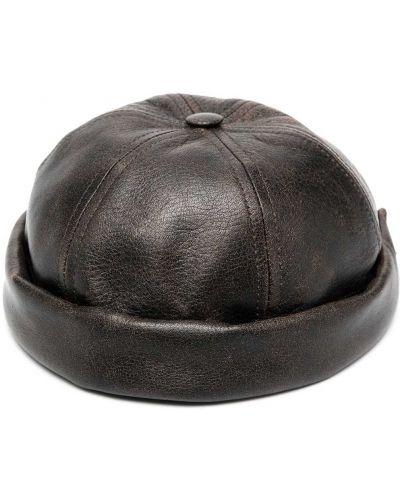 Brązowy czapka z daszkiem z prawdziwej skóry przycięte Junya Watanabe Man