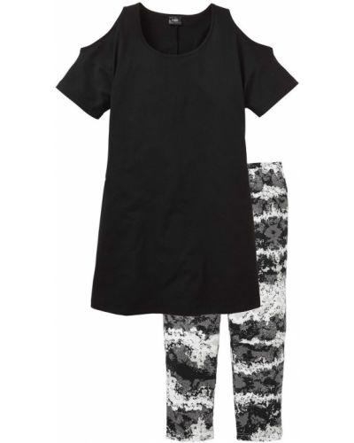Черная пижама с рисунком Bonprix