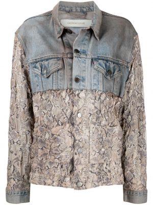 Синяя кожаная джинсовая куртка с воротником Giorgio Brato