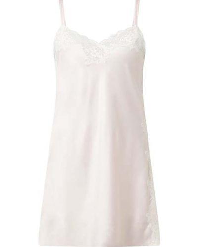 Ażurowy różowy koszula nocna z dekoltem na sznurowadłach Lauren Ralph Lauren