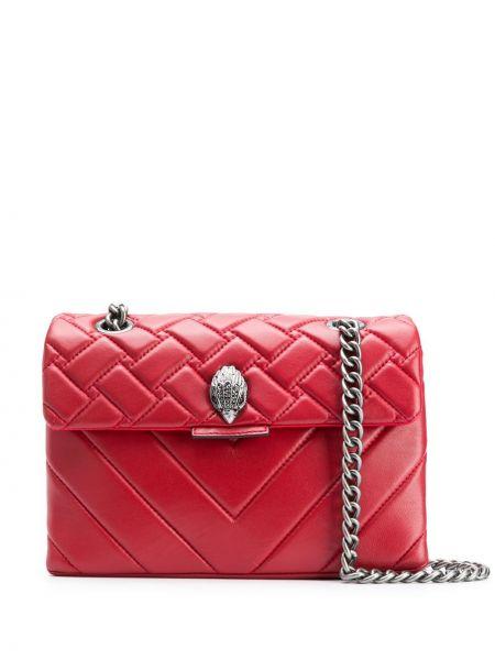 Кожаная стеганая красная сумка на плечо Kurt Geiger London