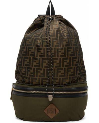 Черный кожаный рюкзак милитари Fendi