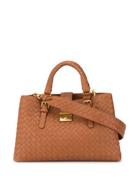 Коричневая сумка-тоут на молнии с карманами Bottega Veneta
