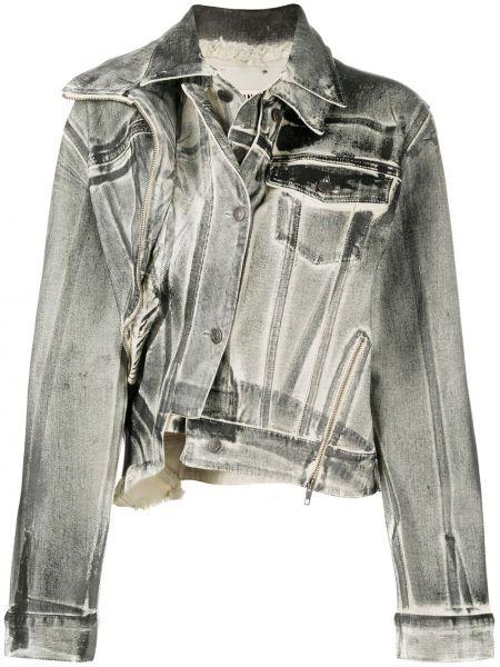 Черная джинсовая куртка на молнии с воротником Ottolinger