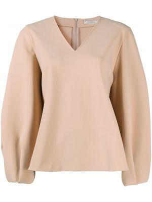 С рукавами бежевая блузка с вырезом Nina Ricci
