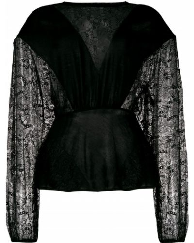 Блузка с длинным рукавом черная Giambattista Valli