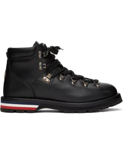 Кожаные черные ботинки на каблуке Moncler