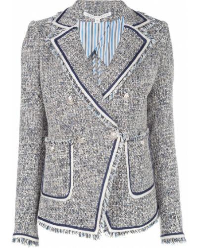 Прямая синяя длинная куртка твидовая Veronica Beard