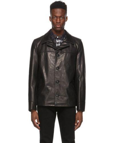Czarny długi płaszcz skórzany z długimi rękawami Schott