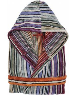 Szlafrok bawełniany z kapturem z printem Missoni