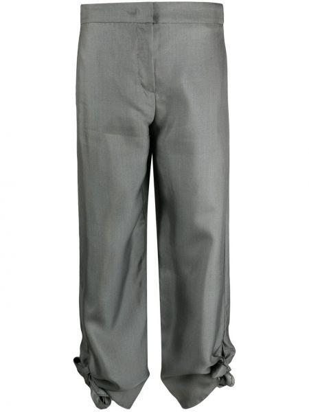 Шелковые серые укороченные брюки с потайной застежкой Emporio Armani