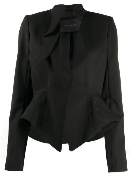 Черный приталенный пиджак с баской Mugler