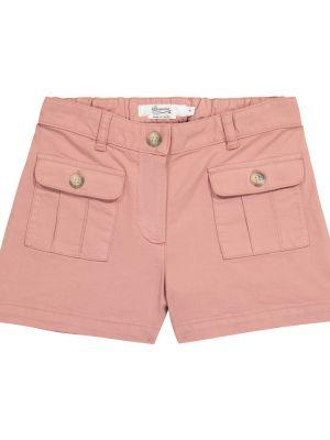 Розовые хлопковые шорты карго с карманами Bonpoint