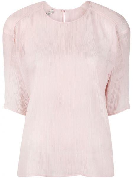 Розовый с рукавами топ круглый Nina Ricci