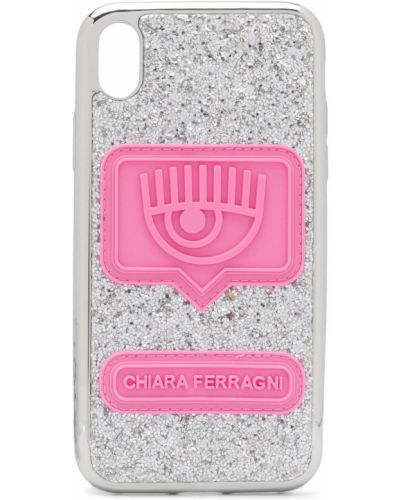 Серебряный футляр для очков с нашивками прямоугольный Chiara Ferragni