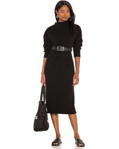 Хлопковое черное платье миди с поясом Frank & Eileen