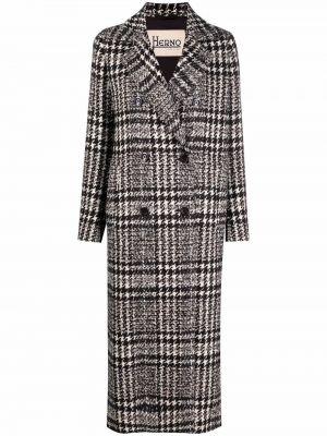 Черное длинное пальто Herno