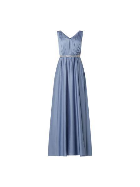 Niebieska sukienka wieczorowa rozkloszowana z szyfonu Christian Berg Cocktail