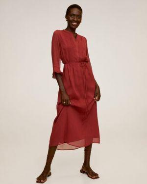 Платье миди с поясом с рукавами Mango