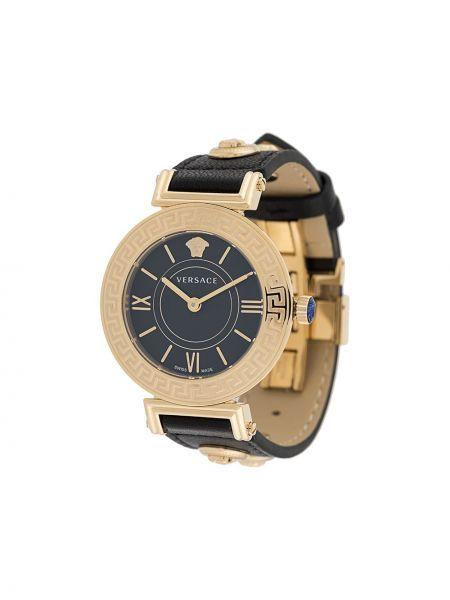 Кожаные черные часы c сапфиром Versace