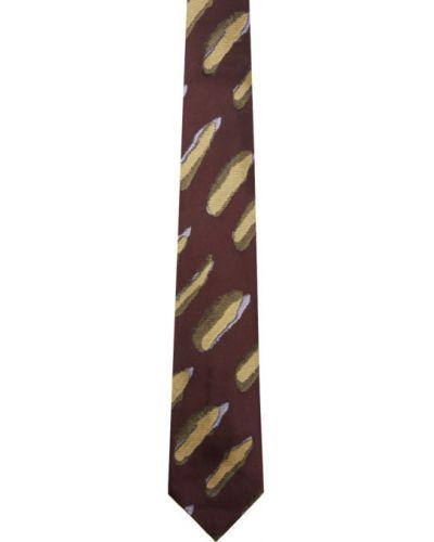 Czarny krawat w paski z jedwabiu Dries Van Noten