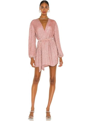 Różowa sukienka na imprezę kopertowa z wiskozy Retrofete