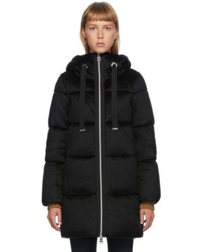 Черное пуховое длинное пальто с капюшоном Herno