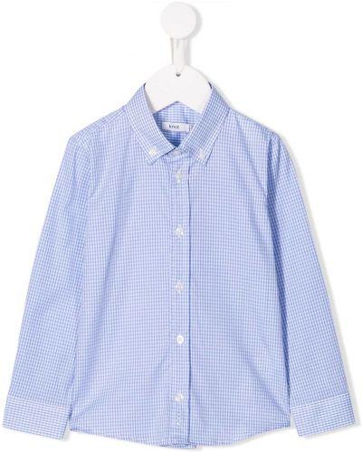 С рукавами синяя рубашка с воротником на пуговицах Knot