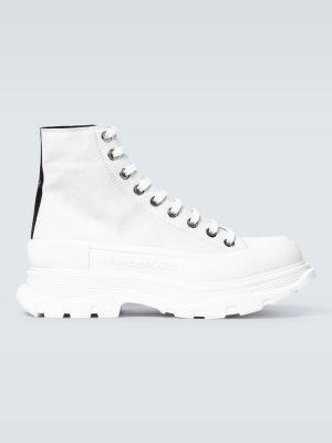 Кожаные белые высокие кроссовки на платформе Alexander Mcqueen