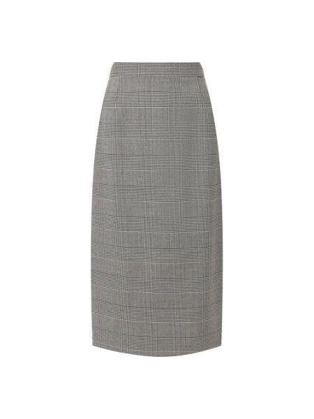Шерстяная юбка миди в рубчик с высокой посадкой с подкладкой Escada
