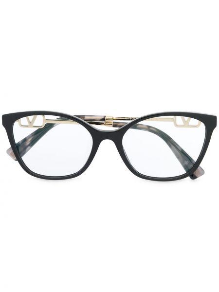 Черные очки круглые металлические прозрачные Valentino Eyewear